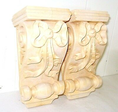 Vintage 2 Ribbons Pattern Solid Wood Corbels Figurine Beautiful Nr
