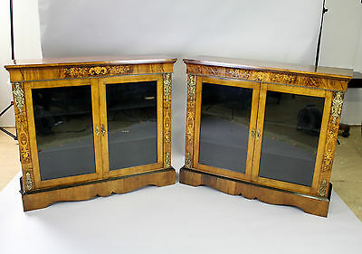 A 19Th Century Victorian Burr Walnut & Marquetry Pair Of Pier Cabinets