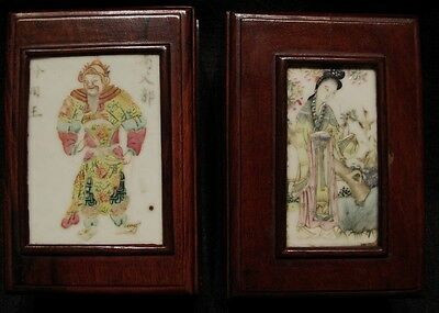 Pair Chinese Wood Boxes-Antique Famille Rose Porcelain Plaques-Red Wax Seals