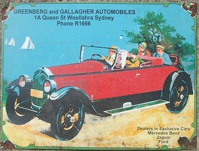 collectable ENAMEL SIGN GREENBERG & GALLAGHER AUTOMOBILES  Sign ...