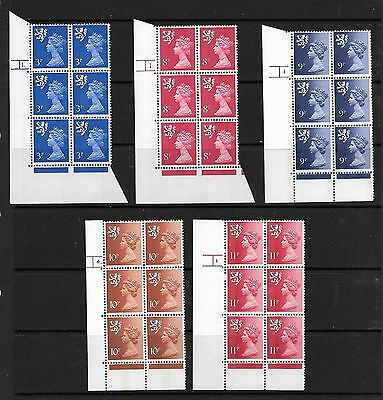 SCOTLAND 5 X CYLINDER BLOCKS OF 6 3p TO 11p NEVER HINGED MINT UNFOLDED