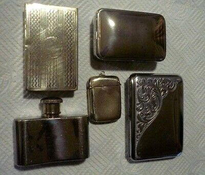 Mixed Lot of Silver Plated Items - Cigarette Case Vesta Flask Matchbox Cover Box