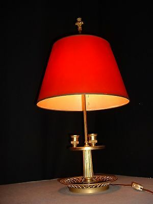 Quality Vintage French Brass and Copper Bouilotte Lamp with red Shade