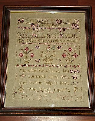Textiles : A fine mid 19th century Sampler - framed and glazed