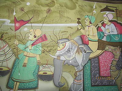 ANTIQUE MOGUL procession INDIAN HAND PAINTED ON SILK RARE ELEPHANT FACE SUPERB