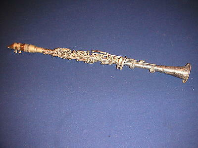 VINTAGE NO NAME 3 PIECE METAL CLARINET w/ TUNING BARREL - CONN BUESCHER STENCIL?