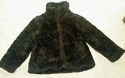 Girls black furry coat bluezoo aged 6