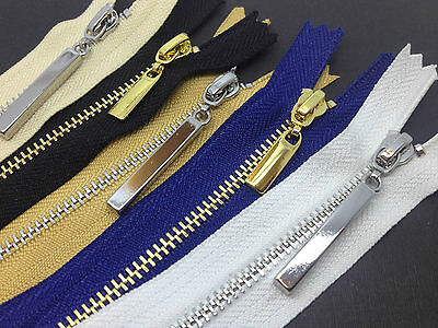 Metal Shiny Gold and Silver Teeth No 3 Zips - Closed End - 8 Zip Colours