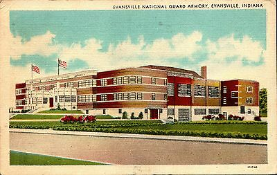 Evansville, Indiana National Guard Armory Postcard Posted 1948