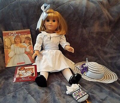 American Girl Doll NELLIE O'MALLEY With Book and Hat bag retired