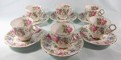 Royal Stafford Rochester 6 coffee cups & saucers English bone china pink gilded