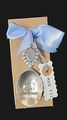 Mud Pie Baby's First Christmas Spoon With Baby Boy  Blue Ribbon
