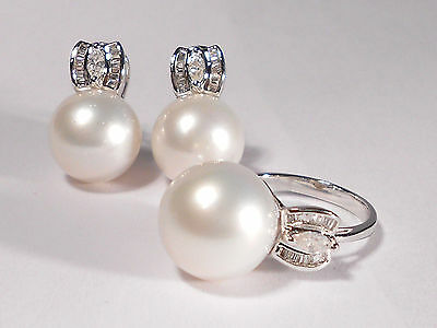 South Sea white pearl set(Ring & Earrings),diamonds,solid 14k white gold.