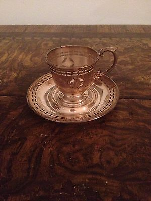 Sterlng silver tea cup and saucer