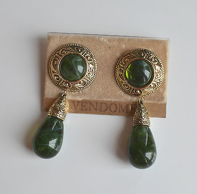 Vintage Vendome Statement Pierced Earrings Drop Dangle Green Translucent On Card