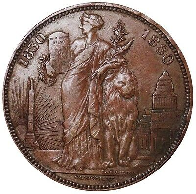 1880 Copper Belgium 5 Francs Independence Anniversary Pattern Coin