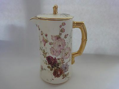 Antique Royal Worcester Hand painted Chocolate Pot with lid , ca 1900