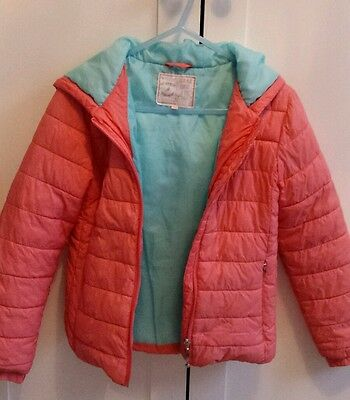 Girls Padded Coral Coat with Turquoise Lining from M&S Age 9-10