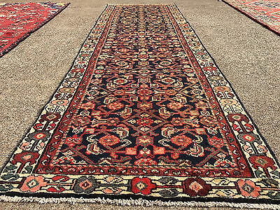 3x10 HAND KNOTTED PERSIAN IRAN RUG RUNNER WOVEN WOOL ANTIQUE 3 x 10 blue 4 9 2