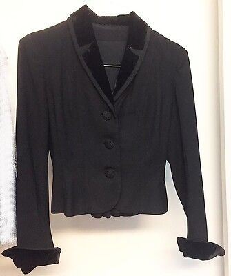 BLACK Ladies VINTAGE Wool Jacket by MIRON *VELVET Trim* Size XS *Great Condition