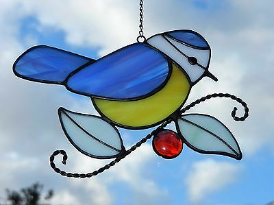 Hand crafted stained glass sun catcher. Blue Tit.