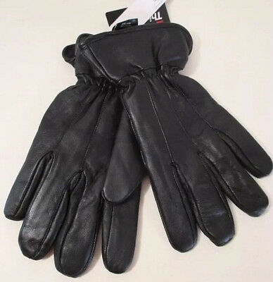 Mens Black Soft  Genuine Leather 40G Thinsulate Winter Driving Gloves, Size L-XL