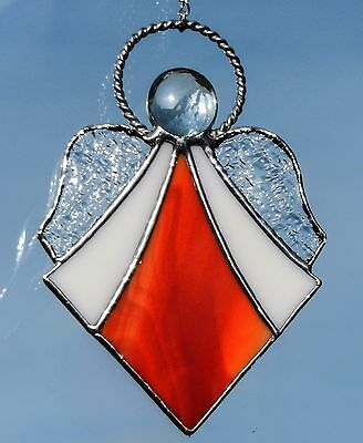 Hand crafted stained glass sun catcher. Deco style Angel.