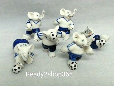 Miniature Elephant Ceramic Figurine Animal Hand Decor Collectible Soccer Lot 6