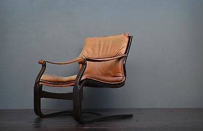 Vintage Retro Mid Century Danish Brown Leather Bentwood Chair