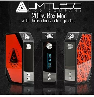 Authentic Limitless LMC 200w Temperature Control Variable Wattage Box Mod - Red