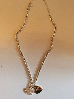 Silver Necklace with 2 Heart Pendants