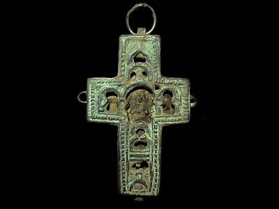 Outstanding Post Byzantine Pectoral Reliquary Orthodox Billon Cross!!!