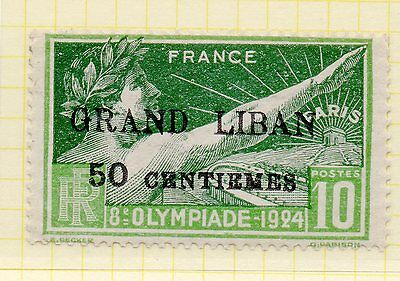Lebanon 1924 Olympic Games 50c on 10c green mounted mint (SG18) - see scan