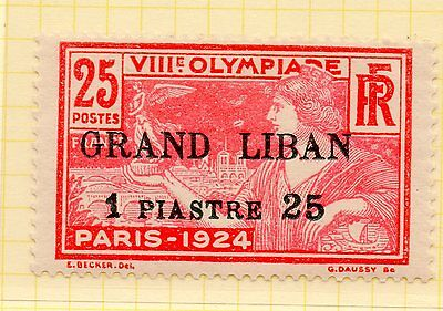 Lebanon 1924 Olympic Games 1.25p on 25c carmine mounted mint (SG19) - see scan