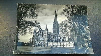 VINTAGE Salisbury Cathedral POSTCARD Real Photograph crimped edge