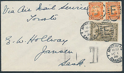 1928 AAMC #2848 Montreal to Jansen Sask, via Air Mail to Toronto, Start of Daily