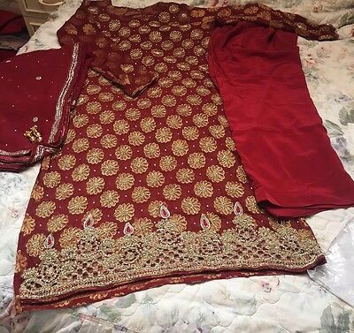 Red Embroidered Indian Pakistani Asian Trouser Kameez Suit WEDDING/PARTY