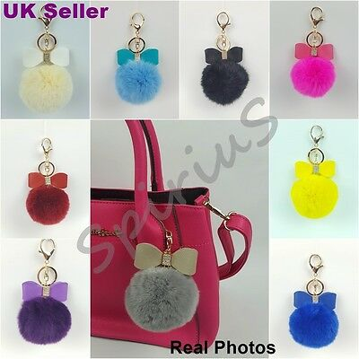 Real Rabbit Fur Ball PomPom with Bow Bag Charm Keyring Accessory Keychain UK
