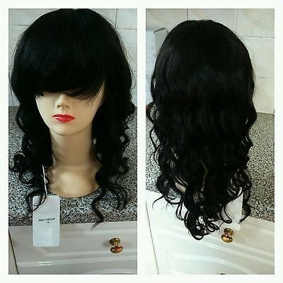 100% Indian Remy wavy human hair wig with Fringe, 18inches,  1b#