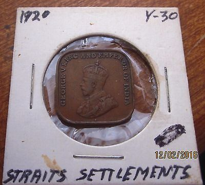 """1920 Straits Settlements 1 Cent Coin George V Vintage """"British Crown Colony"""""""