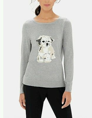 The Limited PUPPY Dog Intarsia Sweater Womens Size M Medium NWT Shih Tzu