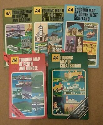 5 Old AA UK Touring Road Maps