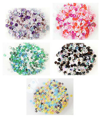 5 PACKS Cupped Sequins Handmade Cards Green Pink Blue Black Yellow Lilac White