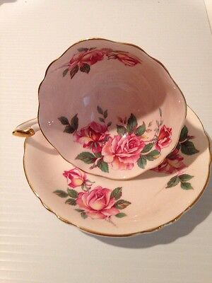 Paragon Double Stamped China Large Pink Roses Pedestal Wide Mouth Cup Saucer LL