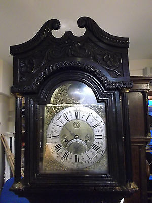 Hand Carved 18th Century Grandfather Clock Ant. Hutchinson, Leeds Del. Arranged