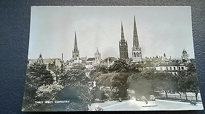 old photograph postcard,Three Spires Coventary