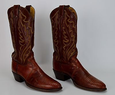 Justin 8480 Country Western Cowboy Boots Men's Size 8.5 D Brown Leather Lizard