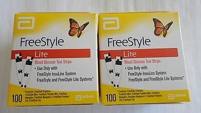 2 boxes = 200 test strips. freestyle lite blood glucose strips