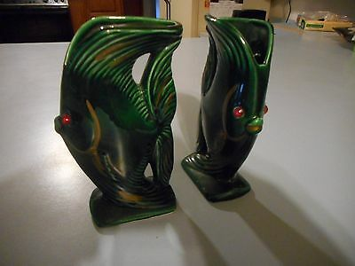 Pair of Vintage Red Eyed Fish Vases Marked Le Bow California