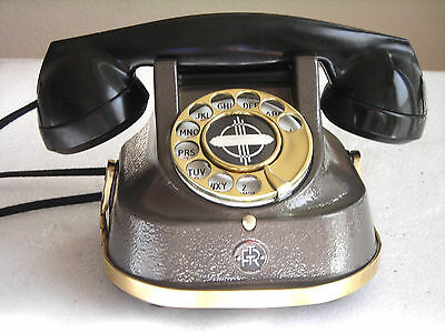 Belgium Metal Restored Antique Telephone With Handle Ready To Use Exc Cond